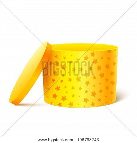 Yellow cylinder box isolated on white background. An open empty gift box. Bright Gift Packaging. Vector illustration