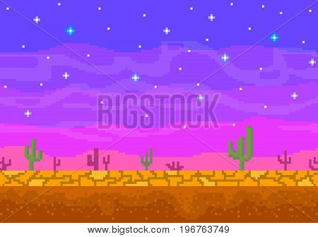 Pixel art sunset in the desert. Seamless background for the game.