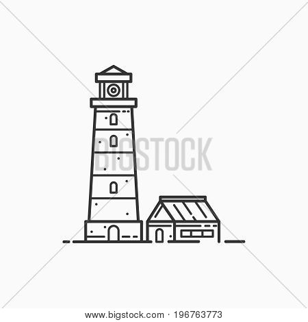 Image of lighthouse on light background. Sea beacon for security and navigation. Linear picture.