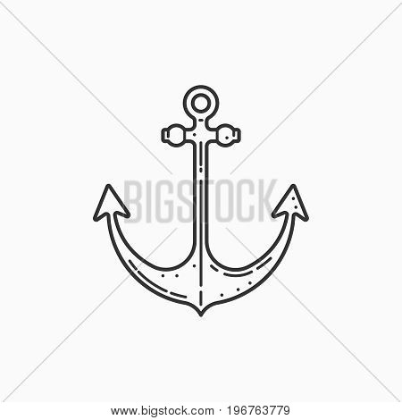Image of a ship anchor on white background. Linear image.
