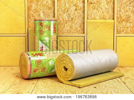 A rolls of insulation glass wool on a wood background. Insulation of room. 3d illustration