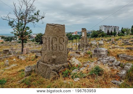 Old abandoned Jewish cemetery in Sevastopol, Russia