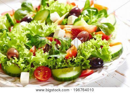 Mediterranean-style salad with kalamata olives and feta cheese