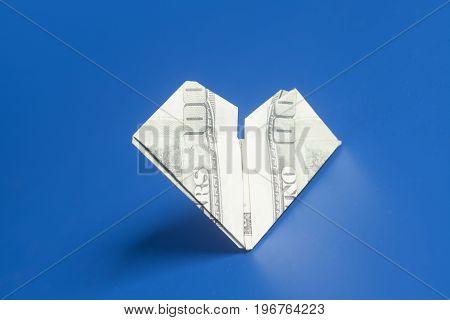 Hundred Dollar Us Bills Heart Shape Origami