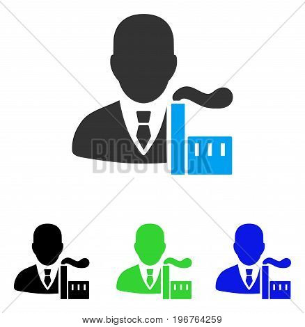 Capitalist Oligarch vector pictograph. Style is flat graphic capitalist oligarch symbol using some color variants.