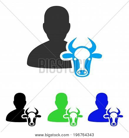 Cow Farmer vector pictograph. Style is flat graphic cow farmer symbol using some color variants.
