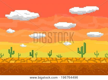Pixel art background. Cactus, clouds in the desert. Seamless vector illustration.