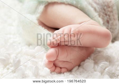 Baby feet on soft blanket, closeup