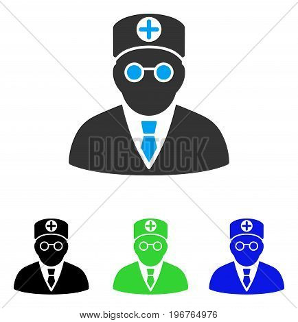 Head Physician vector pictogram. Style is flat graphic head physician symbol using some color variants.