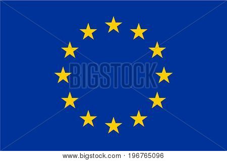 Flag of European Union, EU. Twelve gold stars on blue background. Official size and colors.