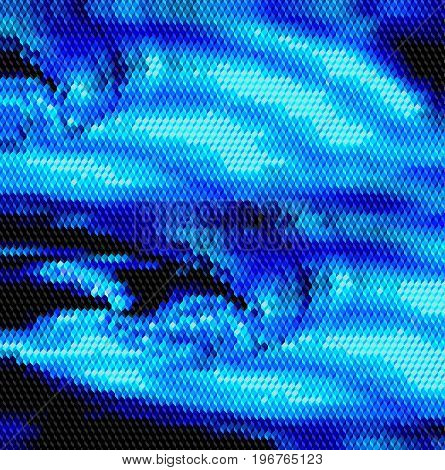 Abstract mosaic background of cubes resembling big turbulent wave. Dark blue, blue and black background of 3d cubes