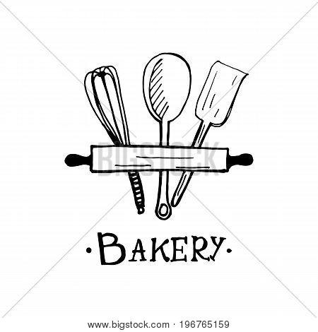 Bakery Logo Design. An Idea For Cafe, Bakeshop, Maffin Shop, Desserts. Hand Drawn Design.