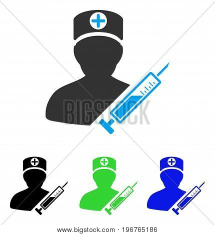 Medic vector pictograph. Style is flat graphic medic symbol using some color variants.
