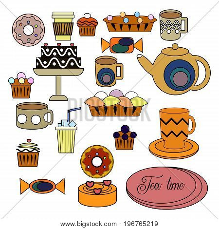 Vector Set Of Tea Time Elements. Teapot, Cups, Sweets, Cakes, Pastry, Donut, Chocolate.
