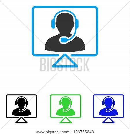Online Support vector pictogram. Style is flat graphic online support symbol using some color variants.