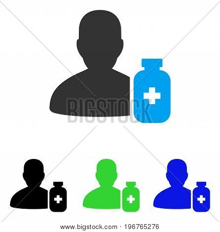 Pharmacist Medicine vector icon. Style is flat graphic pharmacist medicine symbol using some color variants.