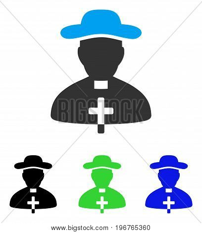 Priest vector pictograph. Style is flat graphic priest symbol using some color variants.