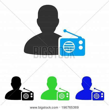Radio Dictor vector pictogram. Style is flat graphic radio dictor symbol using some color variants.