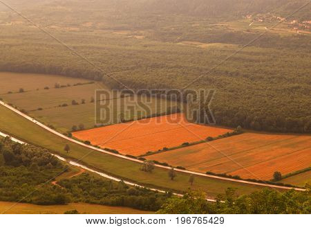 Top view of cultivated field in the Istrian countryside