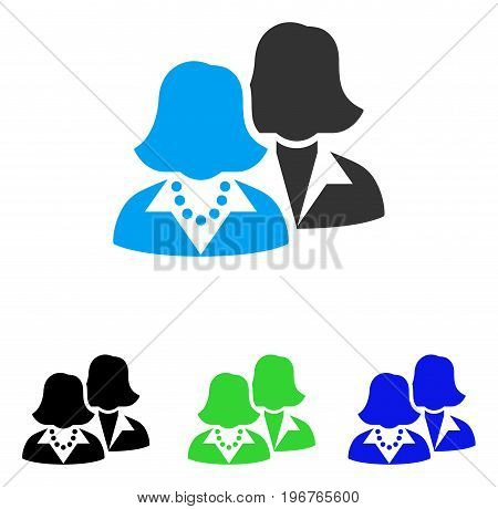 Women vector pictograph. Style is flat graphic women symbol using some color variants.