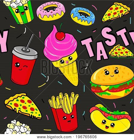 Fashion patch badges with drink fast food donuts ice cream burger and other. Very large set of girlish and boyish stickers patches in cartoon isolated.