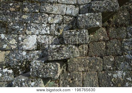 Detail of a staircase in the wall of the Monsanto castle in the historic village of Monsanto Portugal