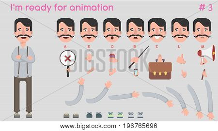 Vector possessor character for creating scenes. Creation of a character with different kinds, emotions of the face, lip synchronization, poses and gestures. Parts of the body template for animation and design. Vector illustration in a flat style.