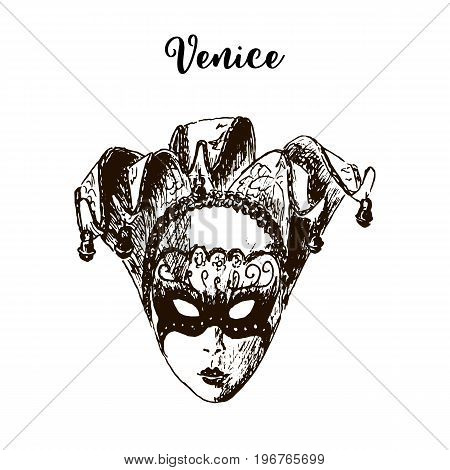 Carnival mask isolated icon. Venice. Beautiful hand drawn vector sketch illustration. Italy. masquerade. For prints, textile, advertising, City panorama, tourism, postcard