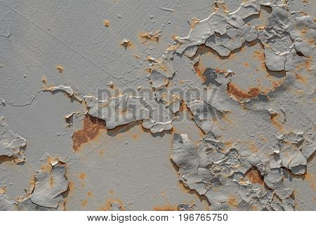 surface of rusty iron with remnants of old paint, chipped paint, grey texture, background