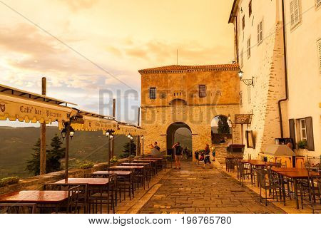 MOTOVUN CROATIA - JULY 12: View of Motovun town gate at sunset on July 12 2017