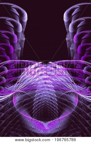 Abstract fractal background resembling bird wings. Pink purple and white fractal with stylized wings on a black background. 3d illustration
