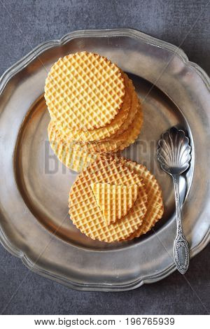 French waffles traditional norman biscuit on vintage tray top view