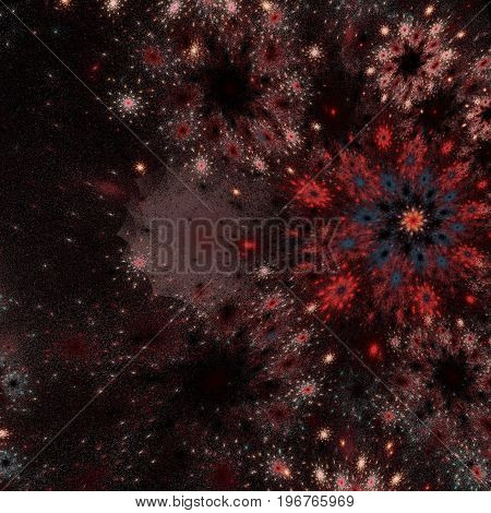 Abstract red blue fractal texture background computer generated.