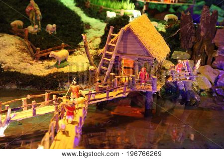 Miniature houses in the christmas crib on christmas