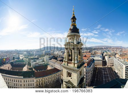BUDAPEST, HUNGARY - FEBRUARY 22, 2016: Panorama of Budapest, Hungary taken from the tower of Saint Istvan cathedral