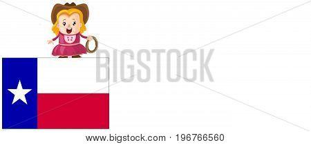 Illustation of Texas. Texas concept. Cowgirl. White background