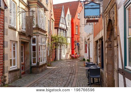 The old narrow medieval street in the historic part of the city. Bremen. Germany.