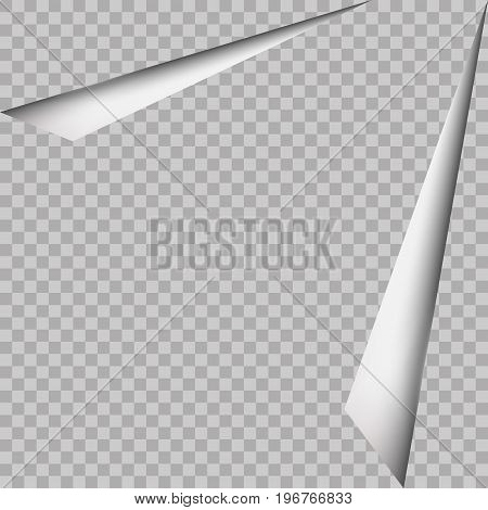 Corner page curl and shadow, isolated on transparent background. Vector sticker paper note for memo and notice. Vector template illustration for your design