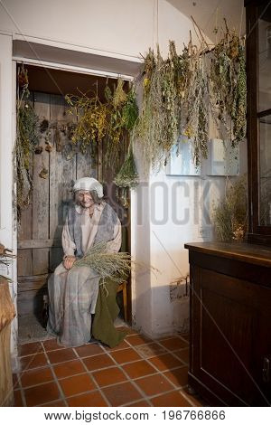 Kaunas, Lithuania - May 12, 2017: Mannequin Of Senior Herbalist Woman In Museum Of The History Of Me