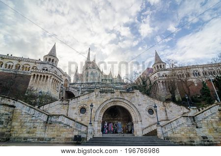 BUDAPEST, HUNGARY - FEBRUARY 23, 2016: Fisherman's Bastion is a terrace in neo-Gothic and neo-Romanesque style, Budapest famous landmark