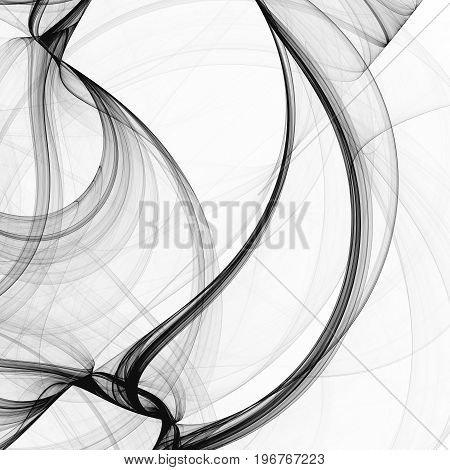Abstract black and white fractal texture background wavy lines.