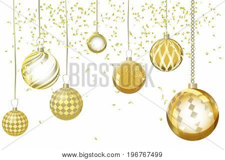 Vector golden xmas background abstract. Christmas ball snow ornaments set isolated. Christmas decoration with xmas magiclights and bokeh. New year gold effect decoration background.