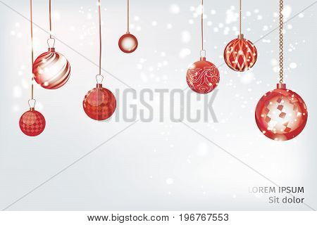 Vector red xmas background abstract. Christmas ball snow ornaments set isolated. Christmas decoration with xmas lights and bokeh. New year red crimson decoration background.