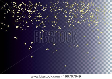Golden sparkles of confetti flying and swirling down on a transparent dark background. Festive decor for Christmas and New Year etc. Vector abstract illustration.