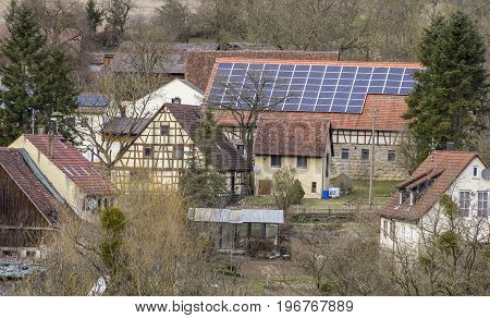 aerial view of a rural village seen in Hohenlohe a area in Southern Germany