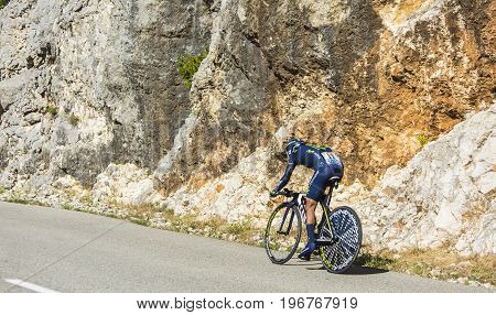 Col du Serre de TourreFrance - July 152016: The Colombian cyclist Nairo Quintana of Movistar Team riding during an individual time trial stage in Ardeche Gorges on Col du Serre de Tourre during Tour de France 2016.