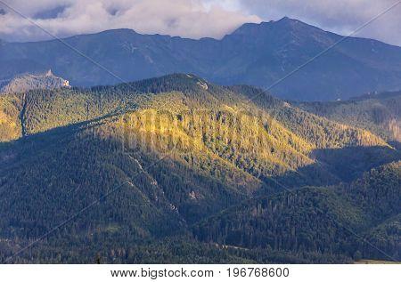 Picturesque evening view of High Tatras Mountains near Zakopane Poland
