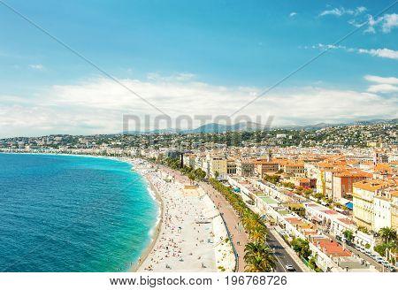 Nice city Promenade des Anglais Cote dAzur French riviera Mediterranean sea landscape