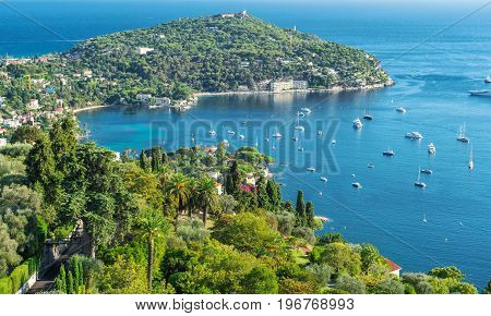 Turquoise Mediterranean sea and blue sky. Villefranche by Nice French riviera. Summer landscape