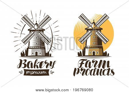 Ancient windmill, mill logo or label. Agriculture, farming, agribusiness icon. Vintage vector illustration isolated on white background